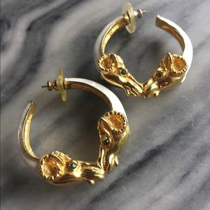 Jewelry - Rams Head Rhinestone Gold Tone Hoop Earrings